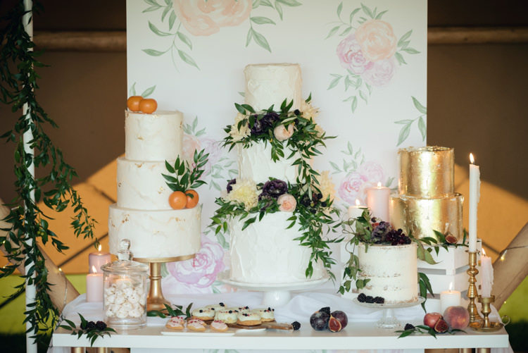 Cake Table Watercolour Painting Backdrop Gold Pretty Blush Floral Tipi Wedding Ideas https://www.sarahvivienne.co.uk/
