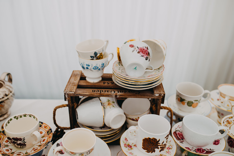 Vintage Crockery Wooden Crate Magical Woodland Family Wedding http://photographybyclare.co.uk/