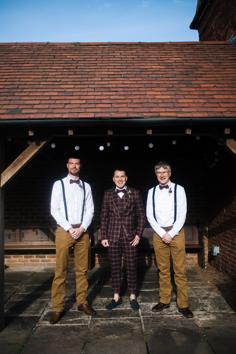 Groomsmen Bow Tie Braces Trouser Check Suit Groom Autumn Packington Moor Wedding Staffordshire Farm Barn Burgundy http://kathrynedwardsphotography.com/