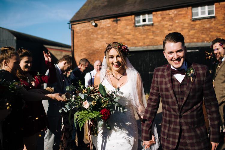 Confetti Throw Autumn Packington Moor Wedding Staffordshire Farm Barn Burgundy http://kathrynedwardsphotography.com/