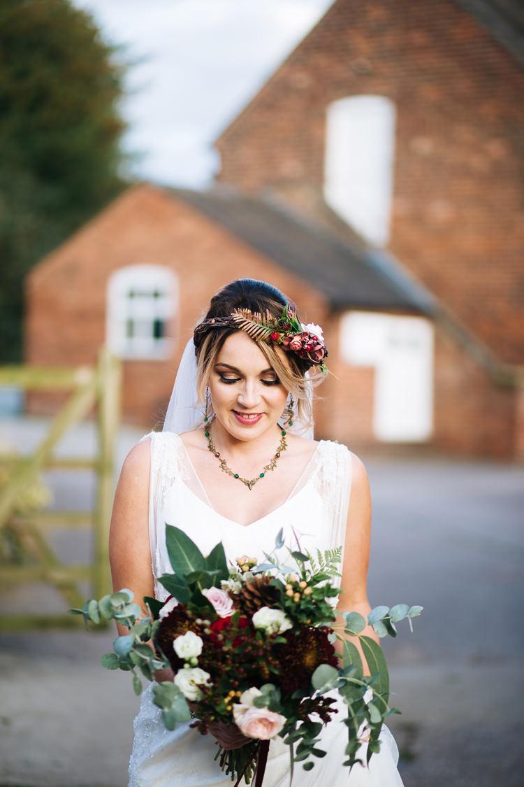 Bride Bridal Flowers Crown Bouquet Greenery Autumn Packington Moor Wedding Staffordshire Farm Barn Burgundy http://kathrynedwardsphotography.com/