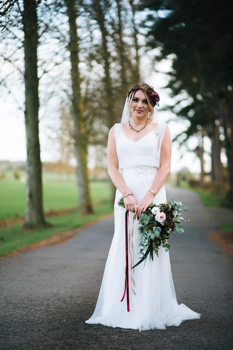 Tulle Strap Dress Gown Bride Bridal Autumn Packington Moor Wedding Staffordshire Farm Barn Burgundy http://kathrynedwardsphotography.com/