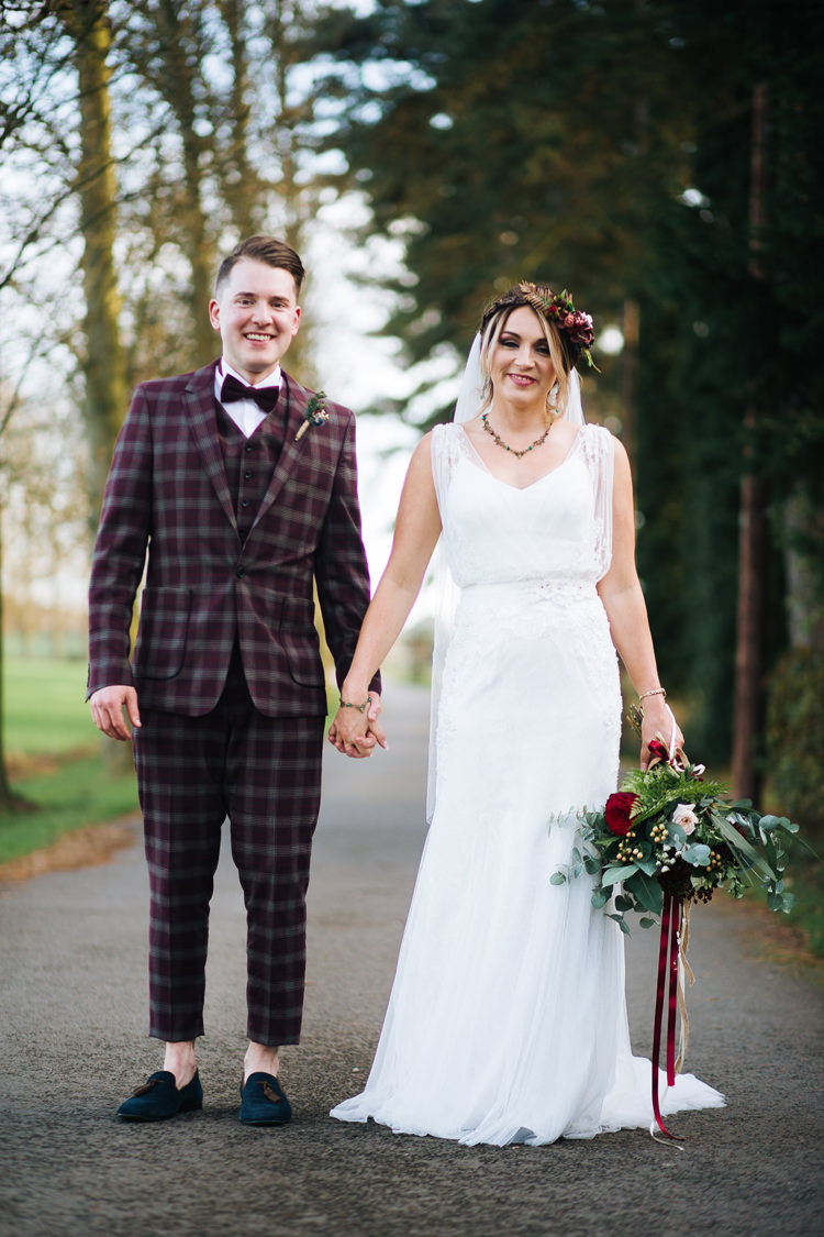 Groom Suit Check Loafers Bow Tie Autumn Packington Moor Wedding Staffordshire Farm Barn Burgundy http://kathrynedwardsphotography.com/