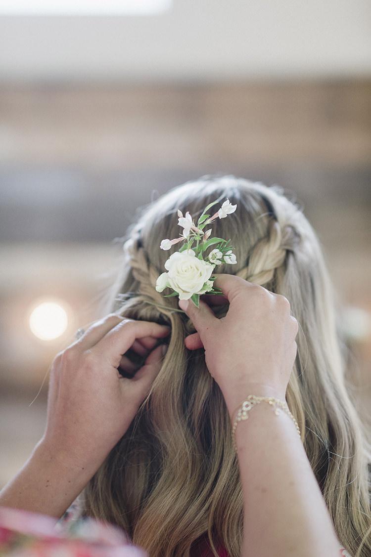 Bridesmaid Hair Style Plaits Braids Darling Fresh Bohemian Barn Wedding https://razia.photography/