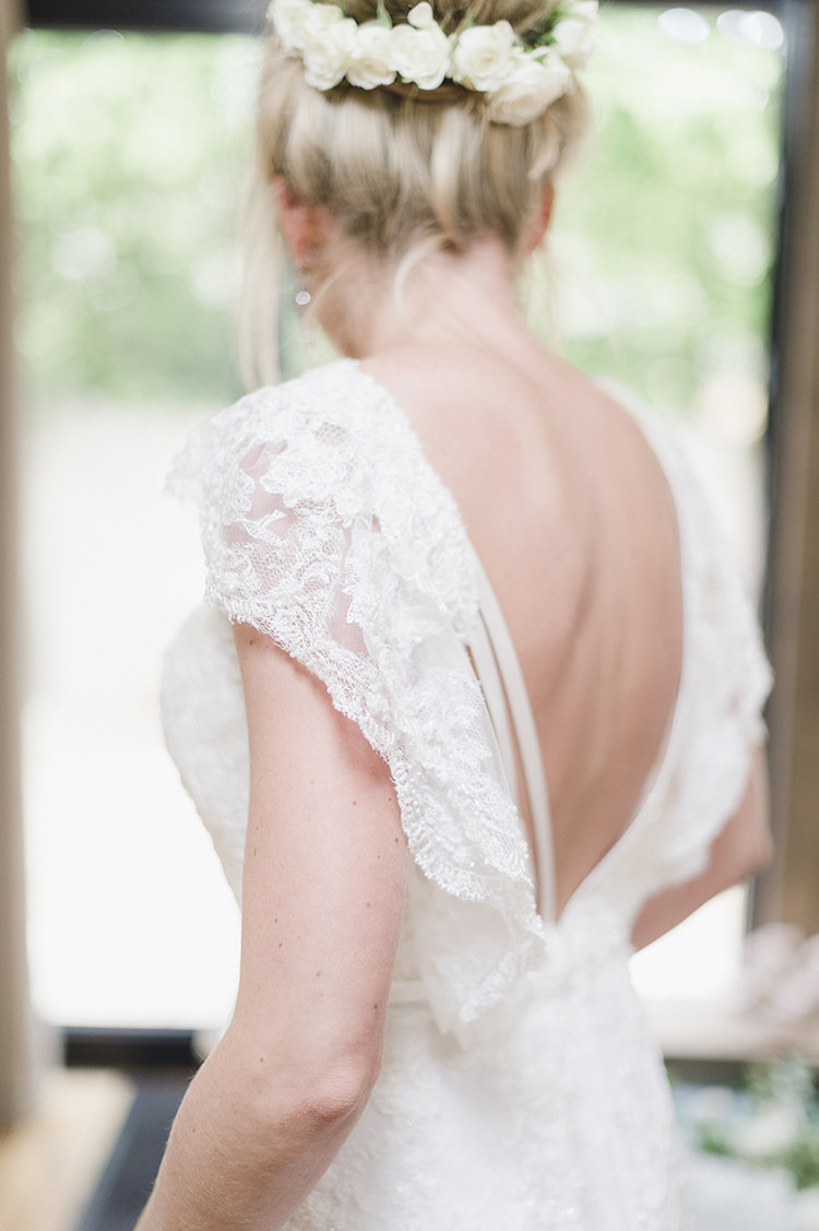 Lace Sleeves Low Back Dress Gown Bride Bridal Darling Fresh Bohemian Barn Wedding https://razia.photography/