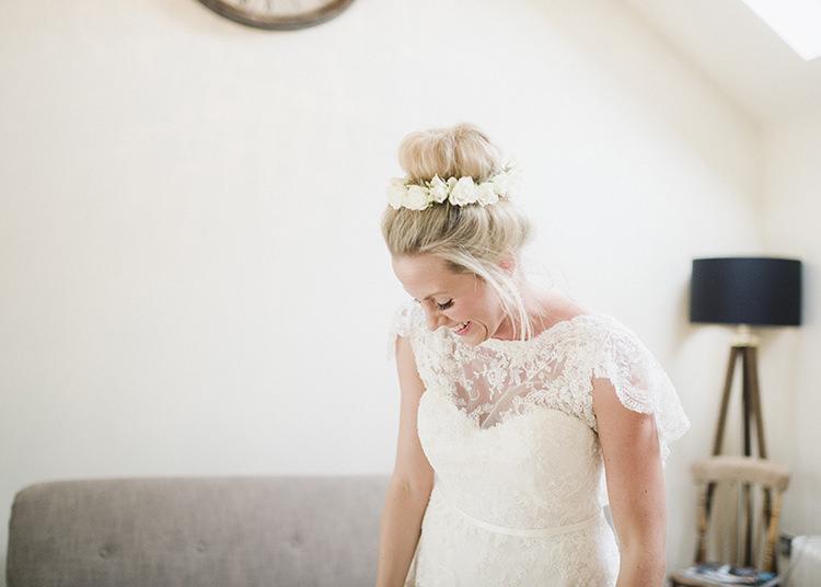High Bun Bride Bridal Hair Darling Fresh Bohemian Barn Wedding https://razia.photography/