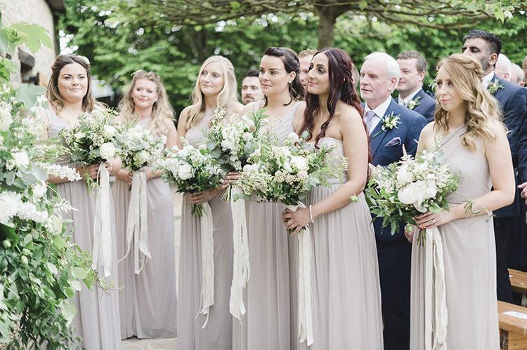 Bridesmaids Dresses Bouquets Ribbons Darling Fresh Bohemian Barn Wedding https://razia.photography/