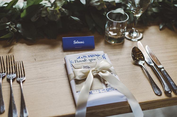 Place Setting Ribbon Bow Stationery Darling Fresh Bohemian Barn Wedding https://razia.photography/