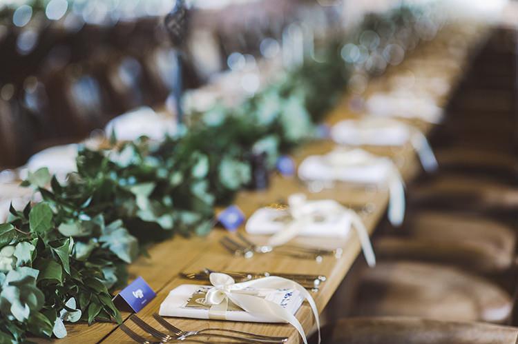 Greenery Foliage Garland Swag Table Runner Darling Fresh Bohemian Barn Wedding https://razia.photography/