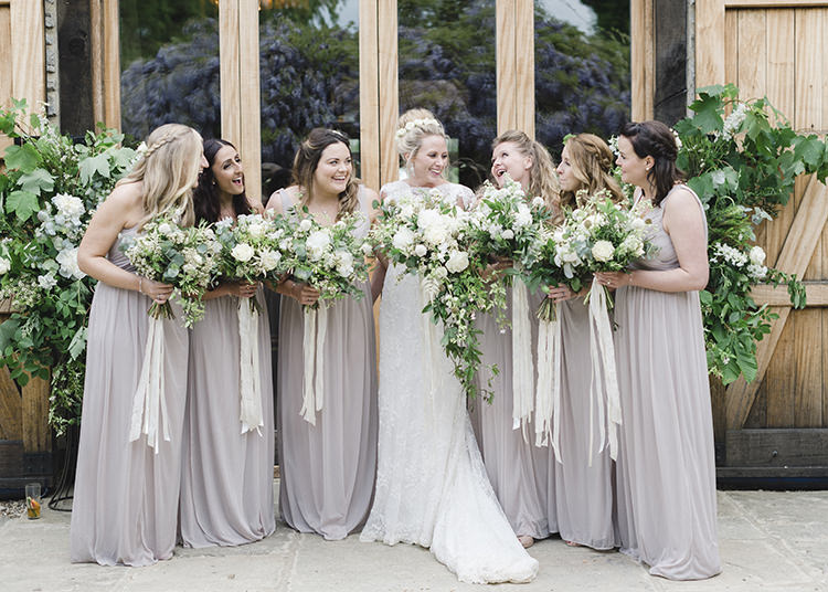 Long Nude Bridesmaid Dresses Maxi Bouquets Ribbons Greenery Darling Fresh Bohemian Barn Wedding https://razia.photography/