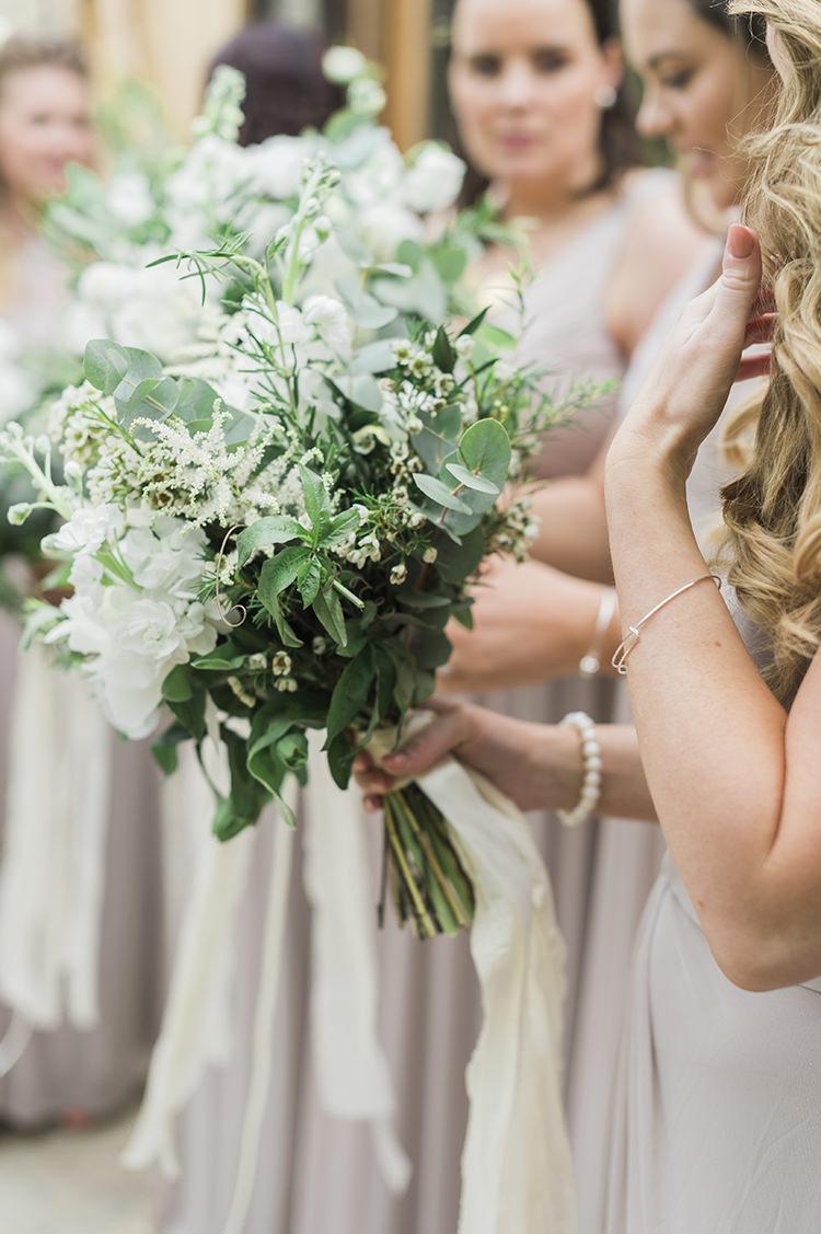 Bouquet Flowers White Green Greenery Rose Ribbon Darling Fresh Bohemian Barn Wedding https://razia.photography/