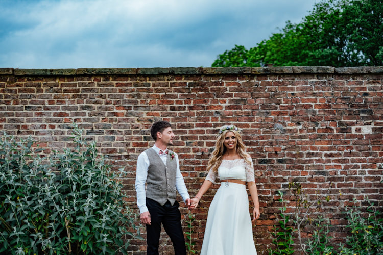 Groom Floral Bow Tie Tweed Waistcoat Charlotte Balbier Separates Drop Shoulder Floral Crown Bralette Topper Skirt Sweetheart Neckline Bride Bridal Boho DIY Secret Garden Wedding https://bibandtuckerphotography.co.uk/