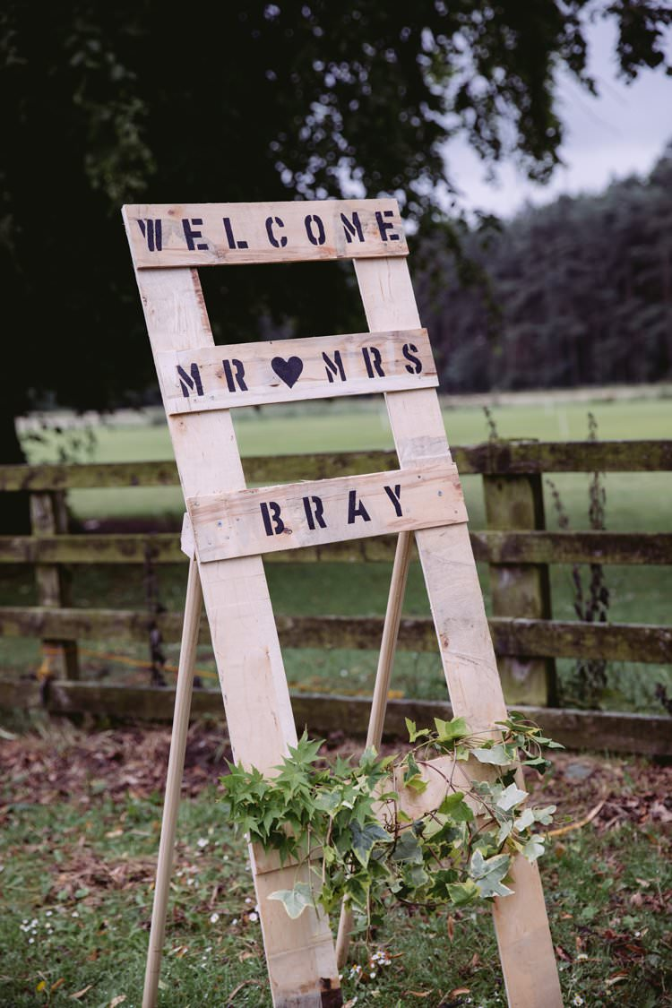 Welcome Sign Stencil Wooden DIY Homemade Beautiful Romantic Country House Wedding Middleton Lodge North Yorkshire http://hayleybaxterphotography.com/