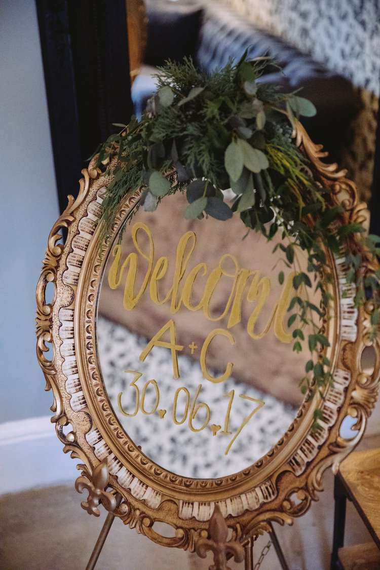 Welcome Sign Gold Gilt Mirror Glass Writing Eucalyptus Greenery Beautiful Romantic Country House Wedding Middleton Lodge North Yorkshire http://hayleybaxterphotography.com/