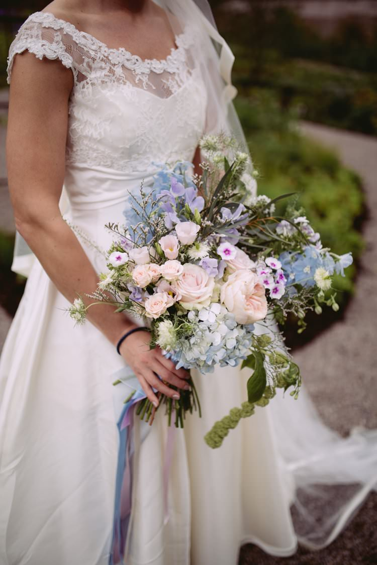 Bride Bridal Sassi Holford Veil Off the Shoulder A Line Dress Gown Bouquet Pastel Hydrangeas Peonies Roses Beautiful Romantic Country House Wedding Middleton Lodge North Yorkshire http://hayleybaxterphotography.com/