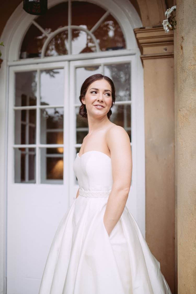 Bride Bridal Sweetheart Strapless Sassi Holford A Line Belt Pocket Dress Gown Beautiful Romantic Country House Wedding Middleton Lodge North Yorkshire http://hayleybaxterphotography.com/