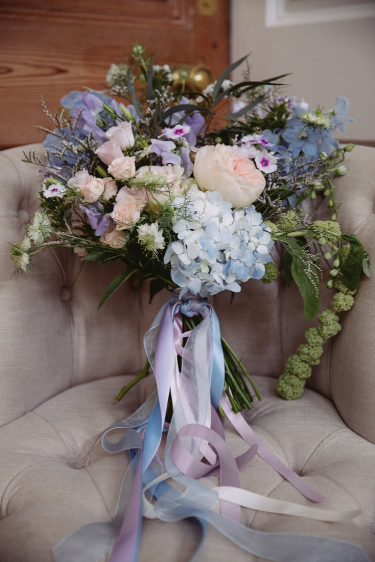 Bride Bridal Bouquet Flowers Pastel Hydrangea Ribbons Beautiful Romantic Country House Wedding Middleton Lodge North Yorkshire http://hayleybaxterphotography.com/