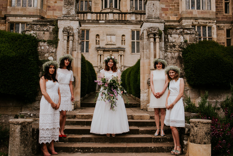 White Bridesmaid Dresses Short Flower Crowns Gypsophila Tropical DIY Moon Photo Booth Wedding https://photo.shuttergoclick.com/