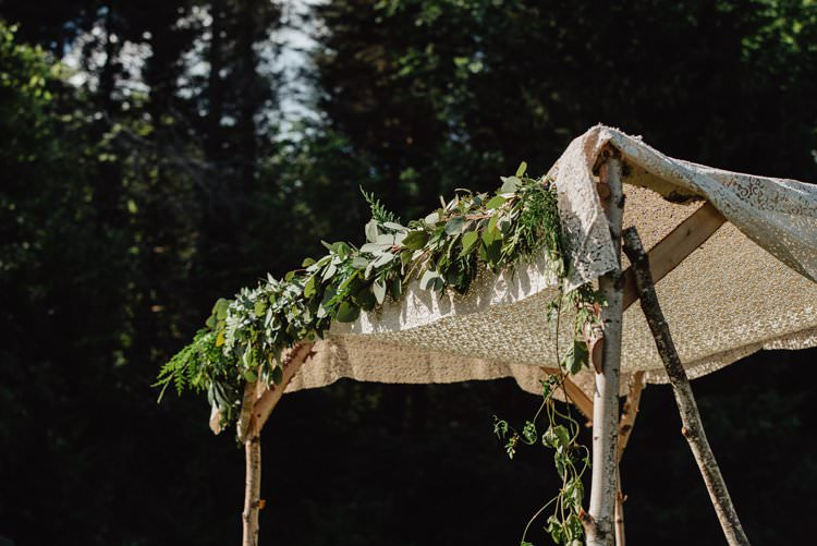 Outdoor Field Forest Wild Nature Floral Arch Lace Vintage Marquee Tipi Ceremony | Breathtaking Secluded Back Garden Open Sided Tent Wedding Vermont https://kickasscouples.com/