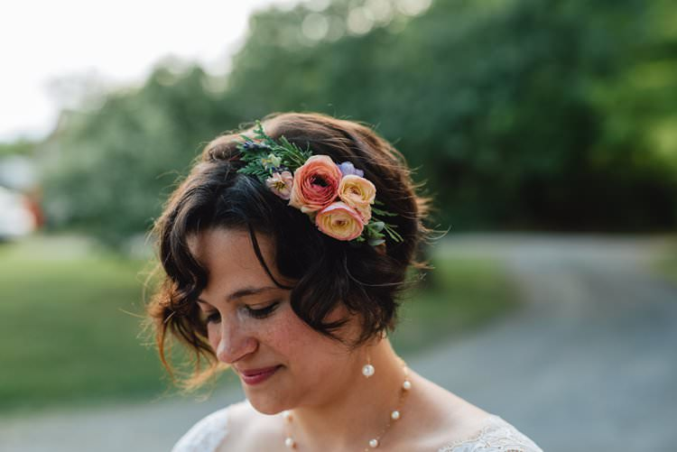 Outdoor Field Forest Wild Nature Marquee Tipi Bride Colorful Wildflower Bouquet Floral Crown | Breathtaking Secluded Back Garden Open Sided Tent Wedding Vermont https://kickasscouples.com/