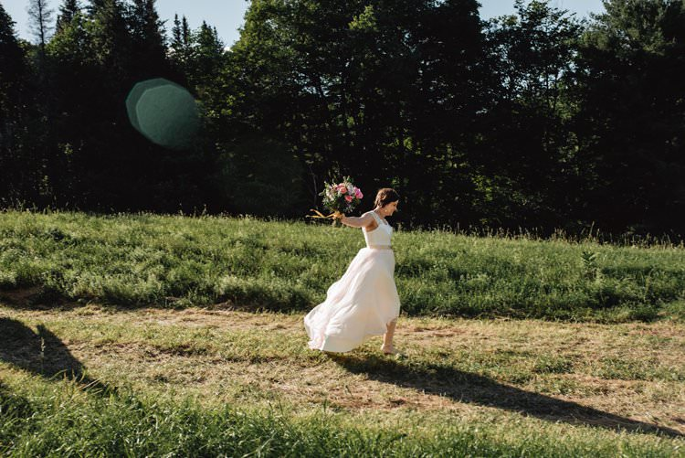 Outdoor Field Forest Wild Nature Marquee Tipi Bride Wild Free Running | Breathtaking Secluded Back Garden Open Sided Tent Wedding Vermont https://kickasscouples.com/