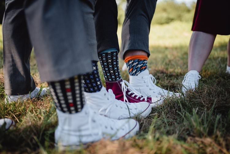 Outdoor Field Forest Wild Nature Marquee Tipi Groomsmen Socks Converses | Breathtaking Secluded Back Garden Open Sided Tent Wedding Vermont https://kickasscouples.com/