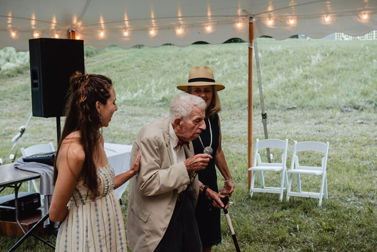 Outdoor Field Forest Wild Nature Marquee Tipi Festoon Lights Reception Rustic Speeches | Breathtaking Secluded Back Garden Open Sided Tent Wedding Vermont https://kickasscouples.com/