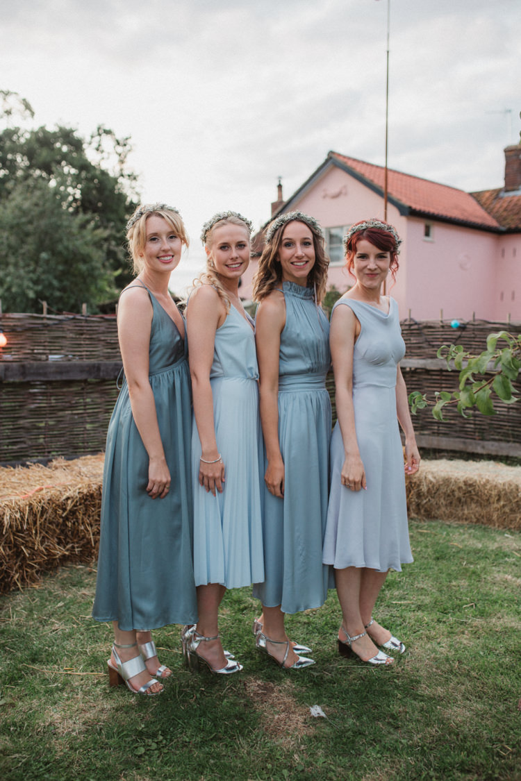 Blue Grey Mismatched Bridesmaid Dresses Flower Crowns Silver Shoes Natural Country Garden Hand Crafted Wedding https://emilytylerphotography.com/