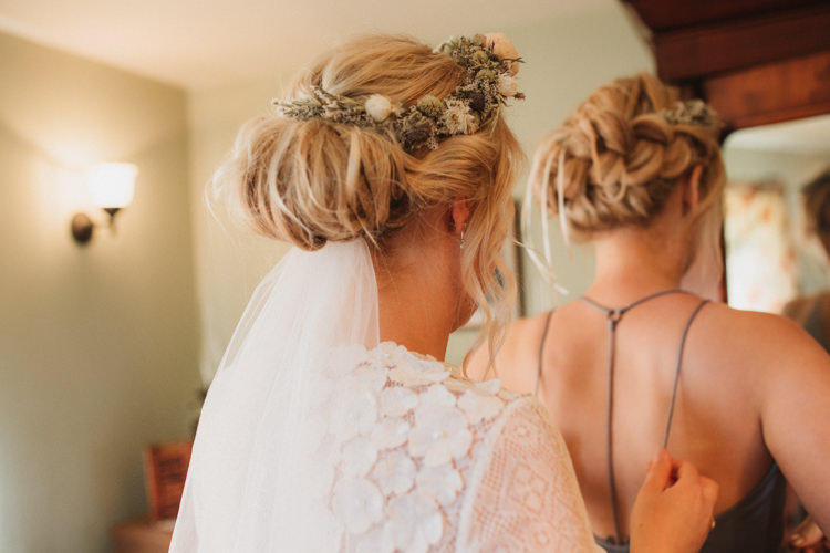 Hair Up Do Style Bride Bridal Flowers Veil Natural Country Garden Hand Crafted Wedding https://emilytylerphotography.com/