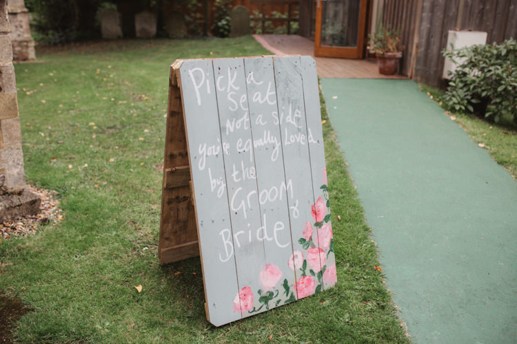 Wooden Floral Painted Sign Ceremony Natural Country Garden Hand Crafted Wedding https://emilytylerphotography.com/