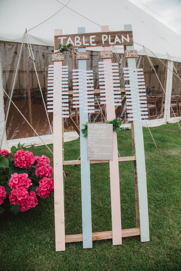 Wooden Painted Table Plan Seating Chart Natural Country Garden Hand Crafted Wedding https://emilytylerphotography.com/