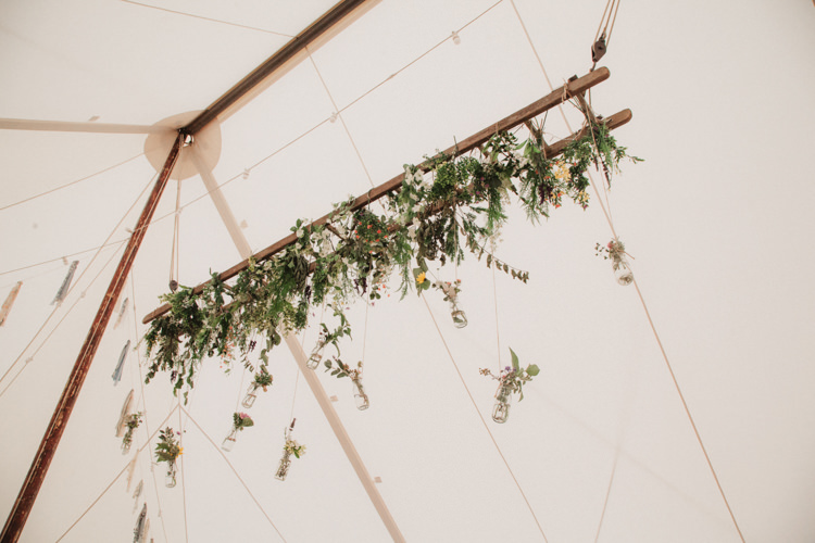 Ladder Wooden Hanging Flowers Ceiling Marquee Natural Country Garden Hand Crafted Wedding https://emilytylerphotography.com/