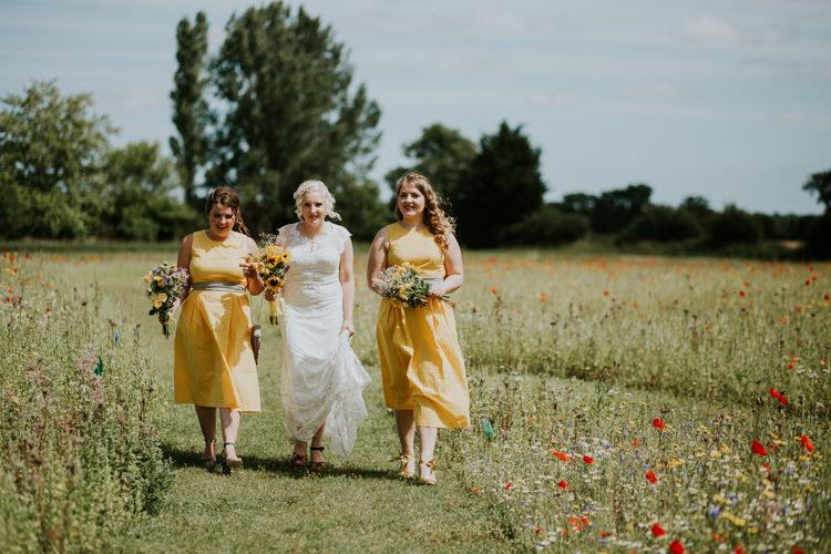 Field Outdoor Garden Woodland Hippie Summer Tipi Ceremony Bride Bridesmaids Yellow Dresses | Happy Outdoor Forest Mustard Yellow Wedding http://suzi-photography.com/
