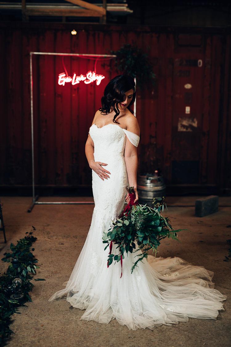 Off Shoulder Bardot Dress Lace Tulle Fishtail Train Bride Bridal Edgy Raw Industrial Barn Wedding Ideas Greenery Festoon Lights http://www.two-d.co.uk/