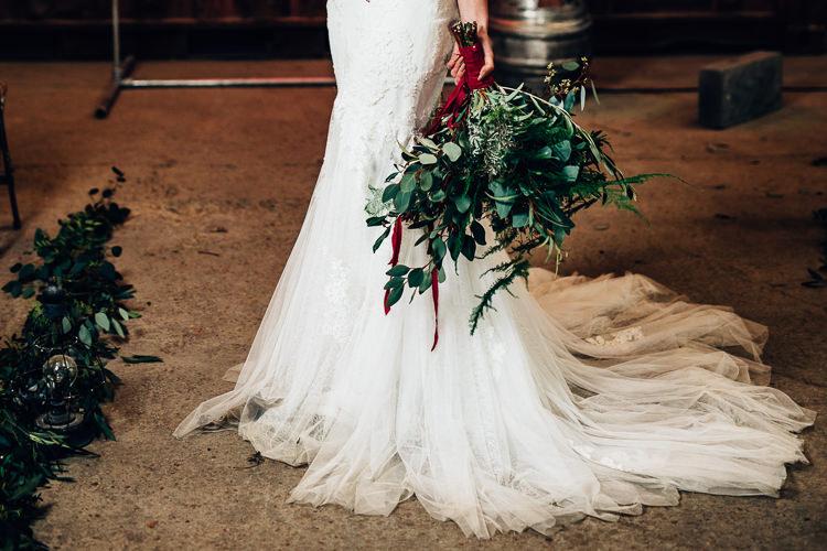 Bouquet Foliage Flowers Large Wild Bride Bridal Edgy Raw Industrial Barn Wedding Ideas Greenery Festoon Lights http://www.two-d.co.uk/