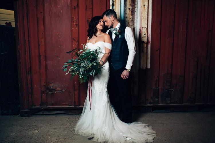Edgy Raw Industrial Barn Wedding Ideas Greenery Festoon Lights http://www.two-d.co.uk/