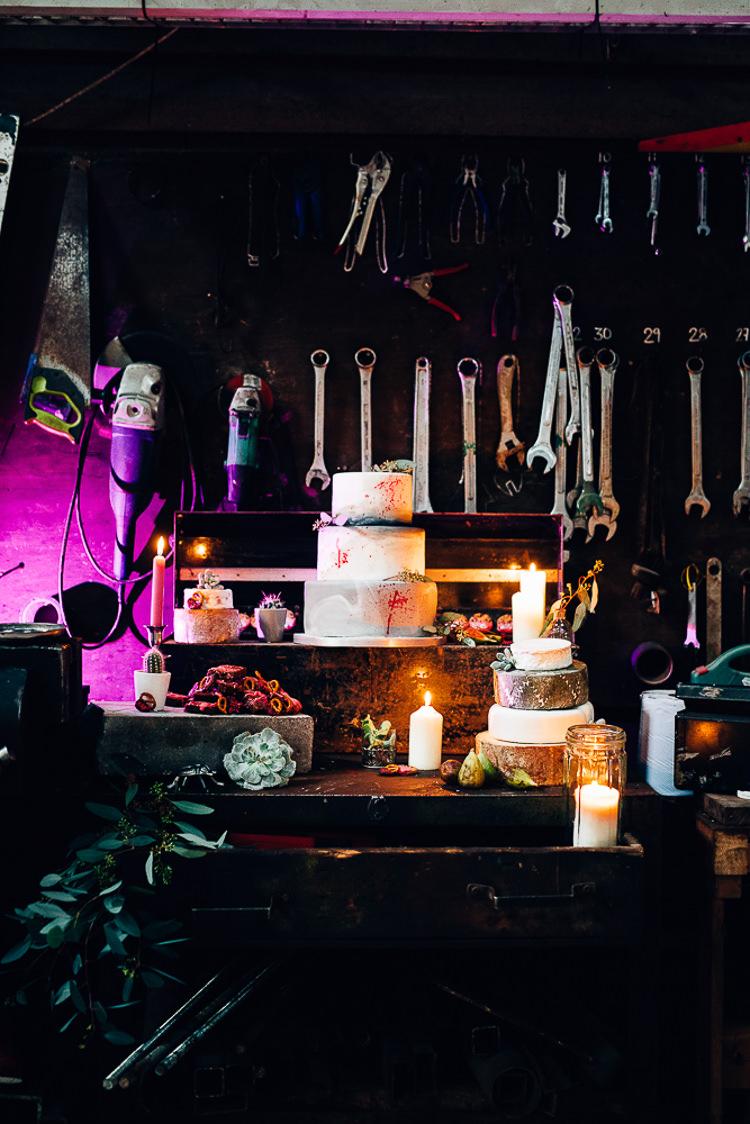 Cake Table Treats Dessert Furniture Dresser Edgy Raw Industrial Barn Wedding Ideas Greenery Festoon Lights http://www.two-d.co.uk/