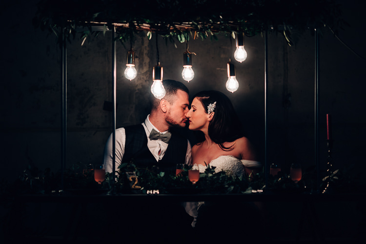 Edgy Raw Industrial Barn Wedding Ideas Greenery Festoon Lights http://www.two-d.co.uk/