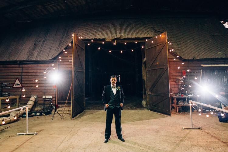 Groom Suit Bow Tie Edgy Raw Industrial Barn Wedding Ideas Greenery Festoon Lights http://www.two-d.co.uk/