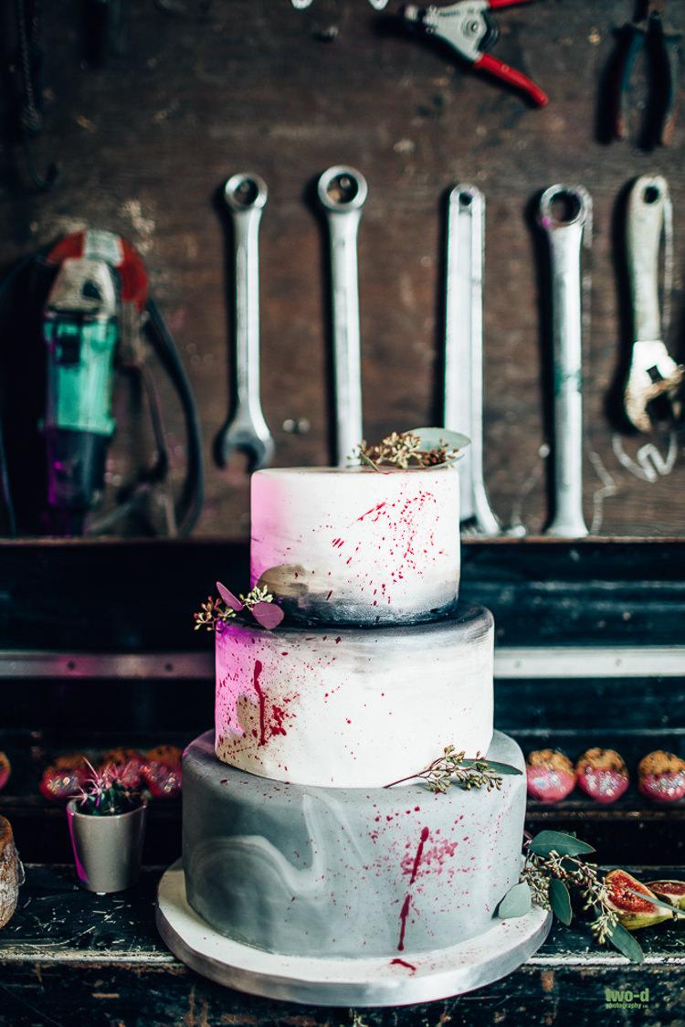 Cake Marble Splatter Edgy Raw Industrial Barn Wedding Ideas Greenery Festoon Lights http://www.two-d.co.uk/