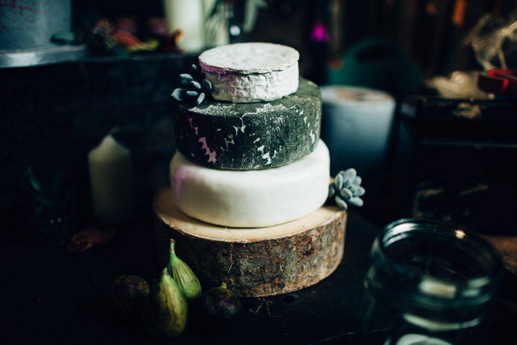 Cheese Tower Stack Edgy Raw Industrial Barn Wedding Ideas Greenery Festoon Lights http://www.two-d.co.uk/