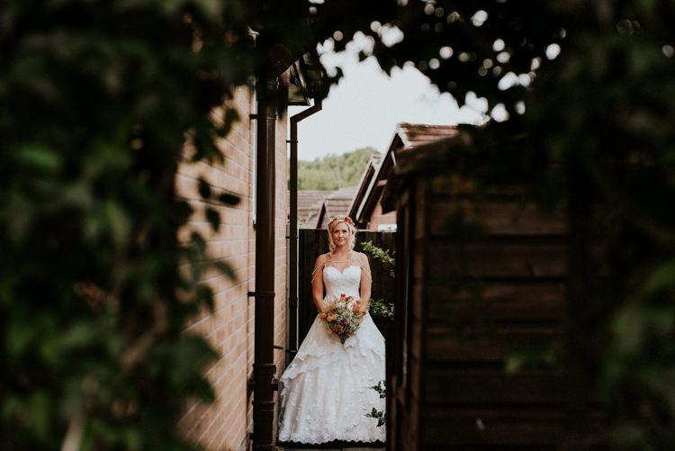 Bride Bridal Sweetheart Neckline Lace A Line Shoulder Jewellery Pearls Floral Flower Hairband Meadow Wildflower Corn Bouquet Practically Perfect Tipi Camp Wedding Thwaite Mills https://photo.shuttergoclick.com/index