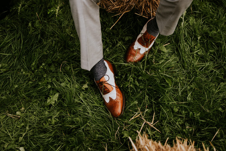 Groom Style Two Toned White and Brown Brogues Practically Perfect Tipi Camp Wedding Thwaite Mills https://photo.shuttergoclick.com/index