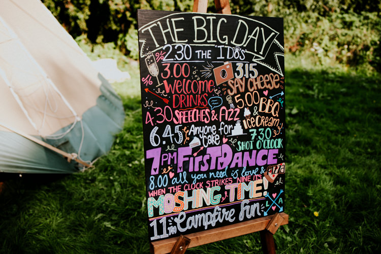 Order of the Day Chalk Board Multicolour Hand Drawn Festival Practically Perfect Tipi Camp Wedding Thwaite Mills https://photo.shuttergoclick.com/index