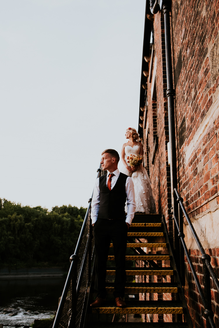 Bride Bridal Sweetheart Neckline Lace A Line Shoulder Jewellery Pearls Floral Flower Hairband Meadow Wildflower Corn Bouquet Groom Waistcoat Red Tie Practically Perfect Tipi Camp Wedding Thwaite Mills https://photo.shuttergoclick.com/index