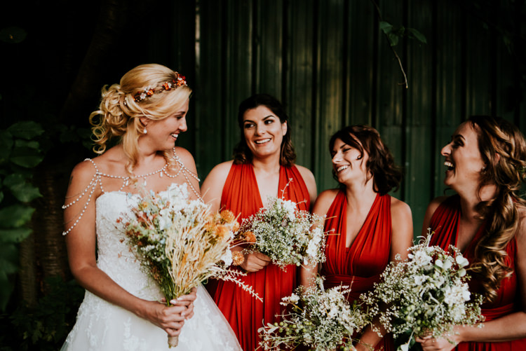 Bride Bridal Sweetheart Neckline Lace A Line Shoulder Jewellery Pearls Floral Flower Hairband Meadow Wildflower Corn Bouquet Red Bridesmaids Halterneck 50s Jersey Gypsophila Practically Perfect Tipi Camp Wedding Thwaite Mills https://photo.shuttergoclick.com/index