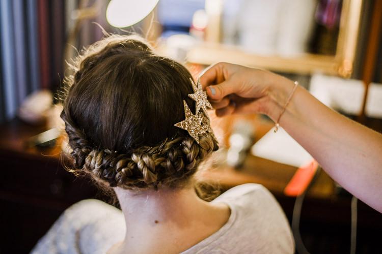 Up Do Hair Halo Braid Star Clip Glittery Fun DIY Wedding New Walk Museum Leicester https://www.daniellefrancescaphotography.com/