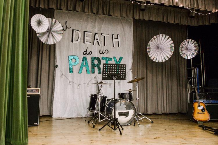 Stage Til Death Do Us Party Banner Sign Pin Wheel Card Fan Fun DIY Wedding New Walk Museum Leicester https://www.daniellefrancescaphotography.com/