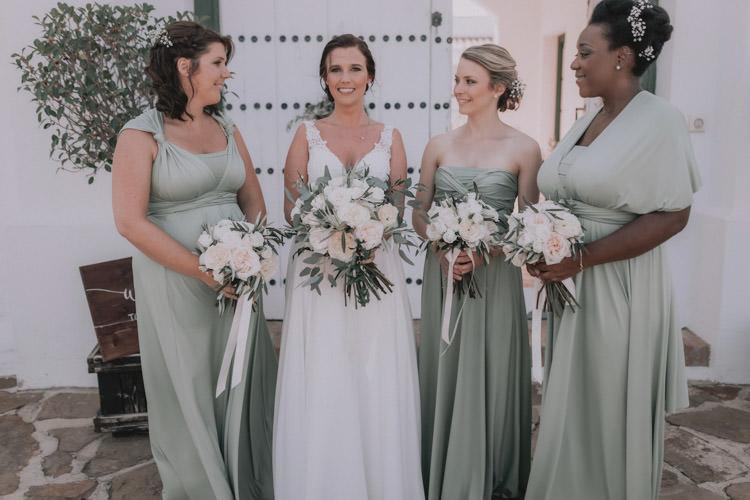 Outdoor Fields Garden Villa Italy Rustic Natural Vineyard Orchard Bride Bridesmaids White Greenery Bouquet   Sage Green Mediterranean Destination Wedding Spain https://www.kinoortega.com/