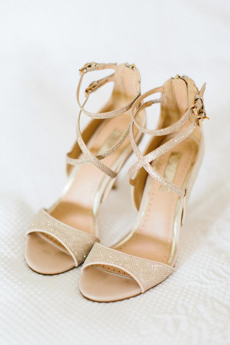 Gold Strappy Shoes Bride Bridal Fun Joyful Pink Blue Summer Healey Barn Wedding Northumberland http://www.melissabeattie.com/